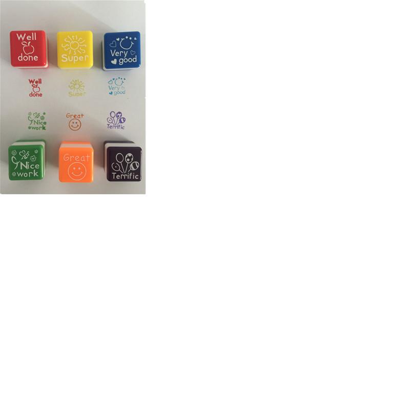 教师评语塑料方形印章多彩儿童玩具图章 卡通印章套装教师评语