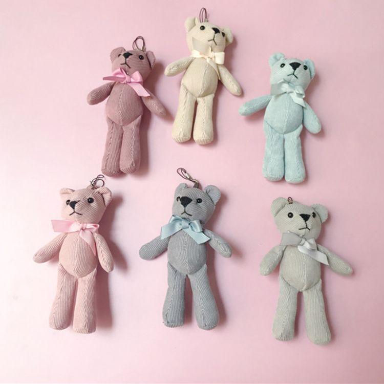 批发灯芯绒泰迪熊公仔毛绒玩具布艺条纹领结熊钥匙扣包包挂件礼品