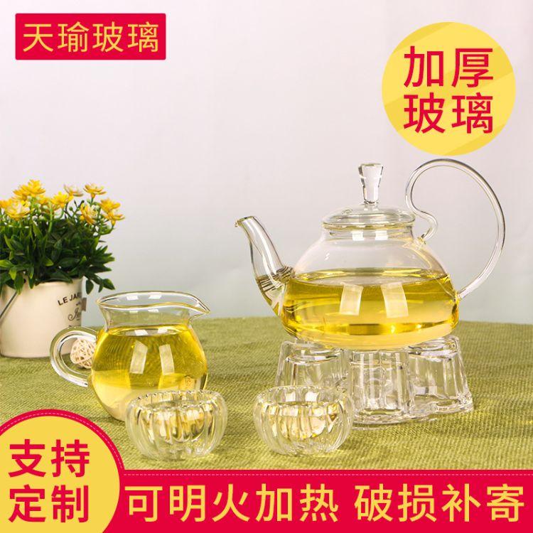 耐热玻璃花茶壶功夫茶具 600ml泡茶壶 欧式玻璃茶壶定制批发
