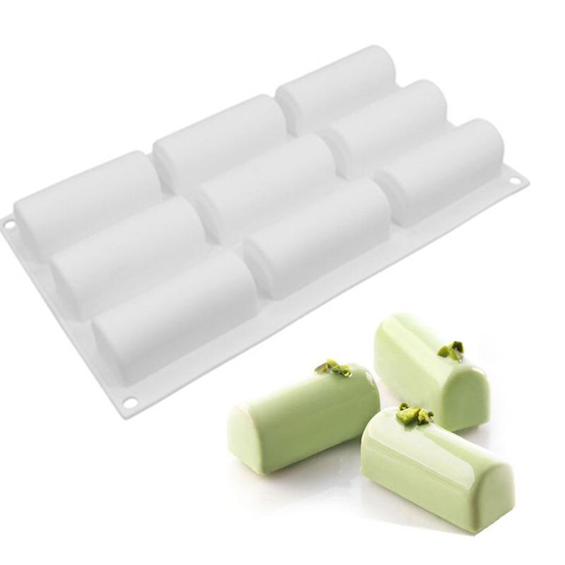 9连长条半圆柱形矽胶模蛋糕慕斯模具硅胶蛋糕模烘焙模翻糖模具
