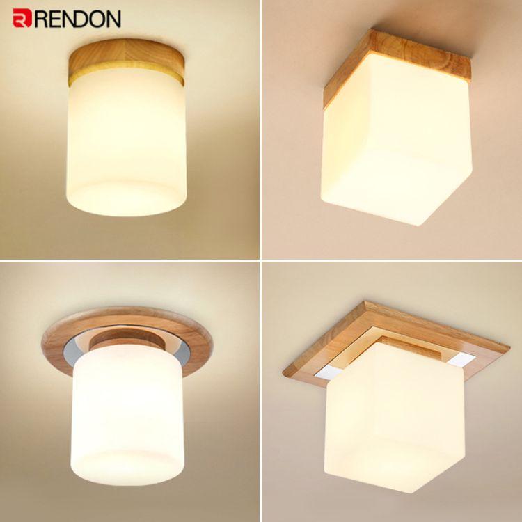 北欧走廊灯过道灯原木灯具现代简约木艺玄关灯入户灯阳台小吸顶灯