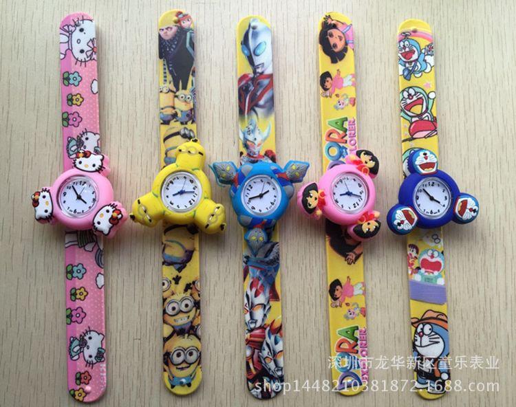 卡通动漫人物儿童玩具陀螺拍拍表 表盘会转动 宝宝手表 彩带啪啪