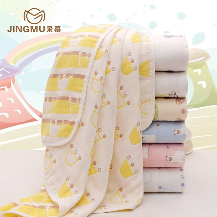 婴童纱布童被幼儿园儿童120*150纯棉6层纱布儿童盖被一件代发