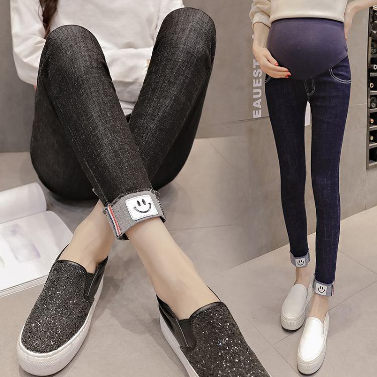 孕妇装2018春夏季百搭新款牛仔孕妇托腹裤 时尚九分高腰孕妇裤