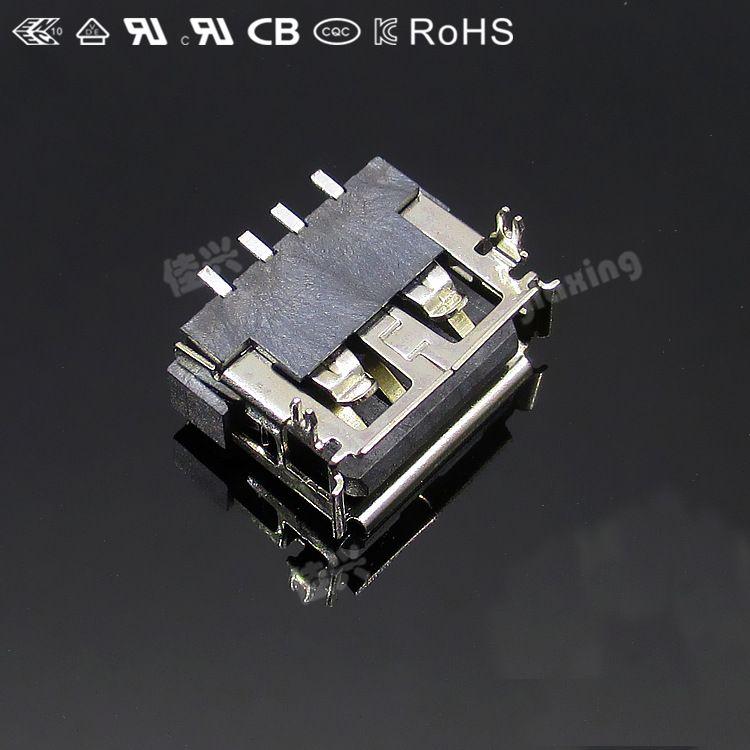供应USB A母短体10.0 90度 USB AF 短体前插后贴连接器直边卷边