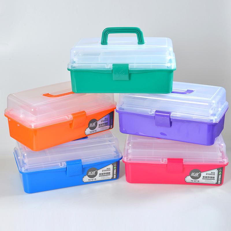 大号三层塑料工具箱 透明实色塑料工具箱 水粉颜料美术工具箱