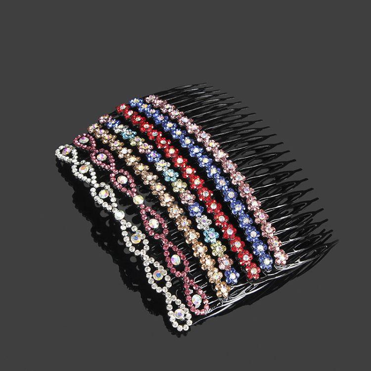 新款韩版手工女式亚克力插梳 水镶水钻刘海梳发卡 发插发饰品定制