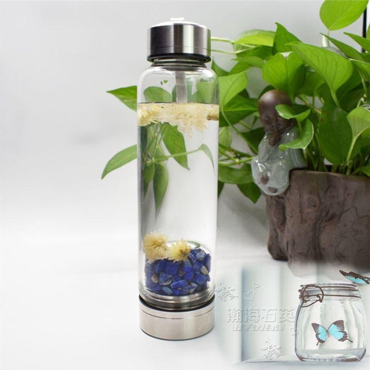 天然水晶碎石消磁净化玻璃杯 水晶能量玻璃杯 水疗玻璃杯可印logo