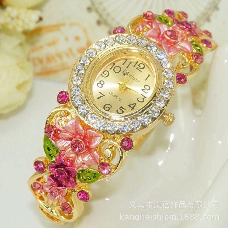 民族风景泰蓝女士手镯表 镀金镶钻镂空花卉饰品手表微商货源