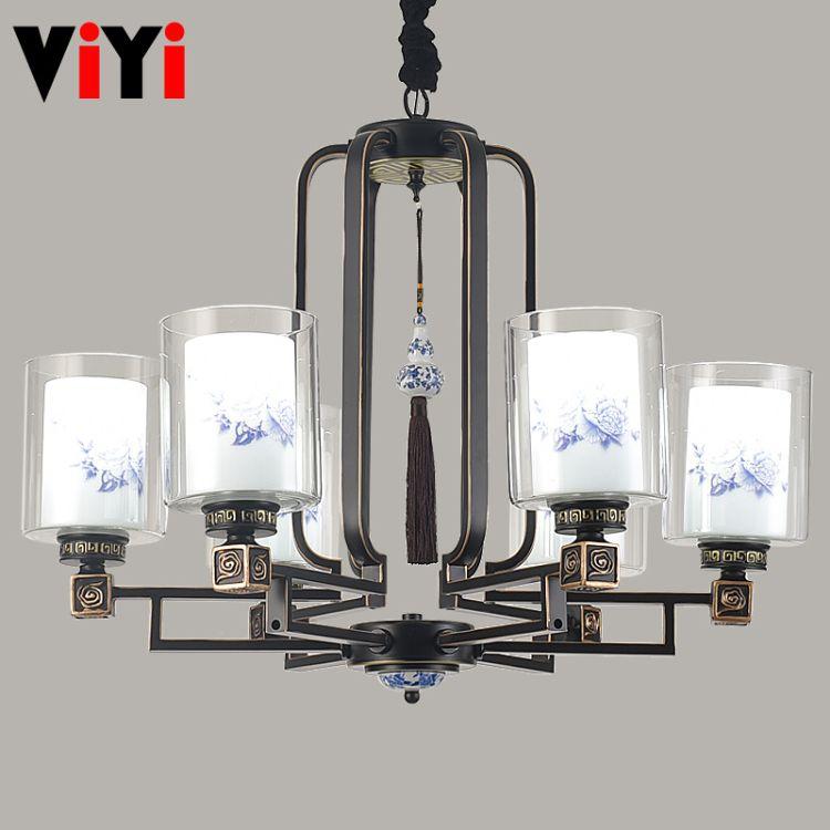 现代新中式吊灯简约客厅灯古典中国风餐厅吊灯卧室灯具铁艺玻璃灯