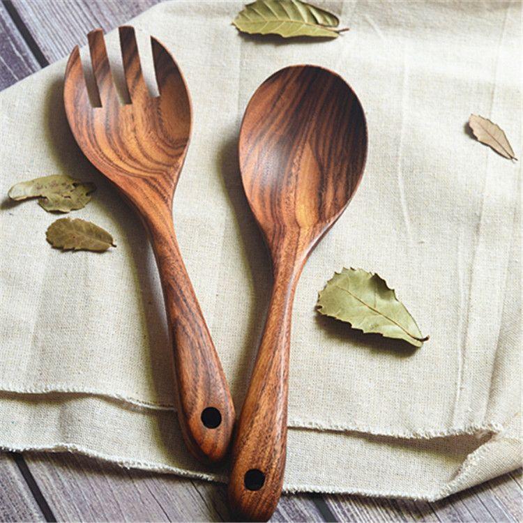 日式相思木料理勺叉套装 木勺木叉原木沙拉勺叉拌面叉勺