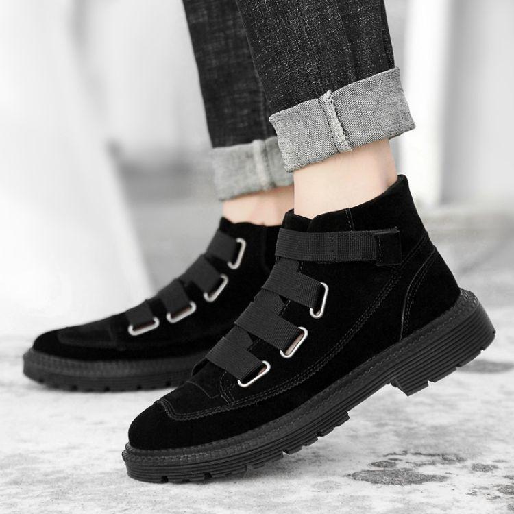 马丁靴男潮中帮男靴高帮工装靴百搭靴子冬季雪地男鞋加绒保暖棉鞋