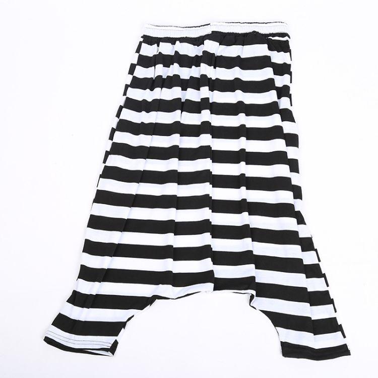 厂家直销2018年新款个性垮裤 条纹嘻哈大码女裤 休闲宽松吊裆裤