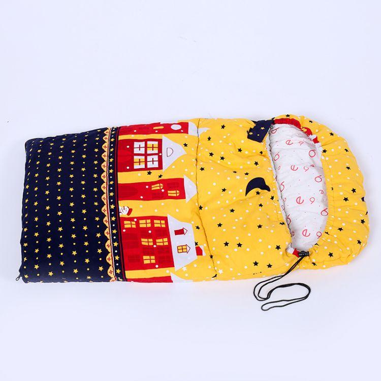 2018新春时尚可爱黄黑印花儿童睡袋户外保暖防风婴幼儿抱被防踢被