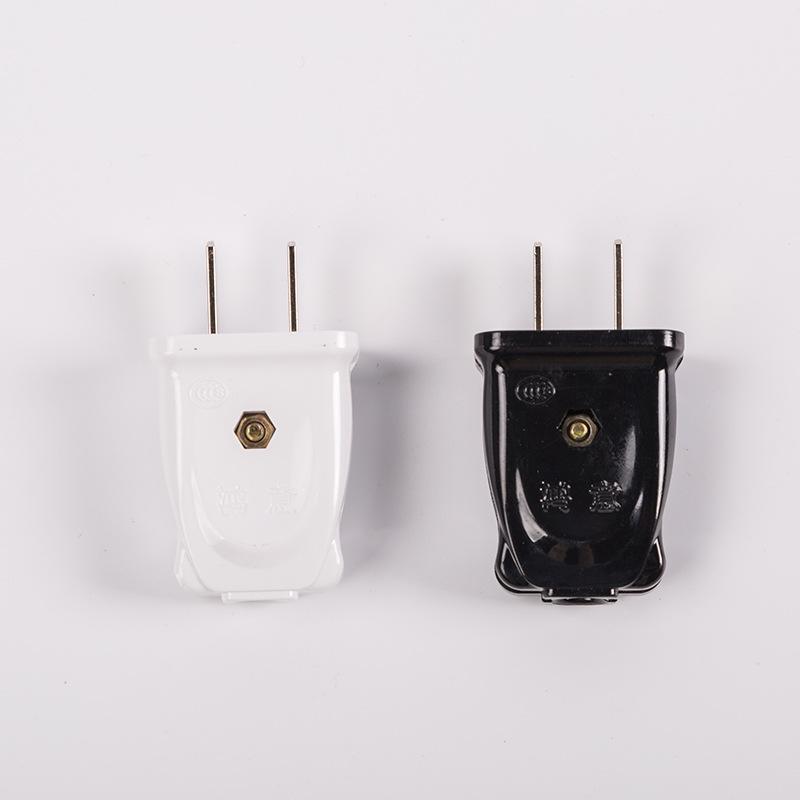 厂家直销单项二极插头批发 大功率二脚扁插头电源线10A两极插头