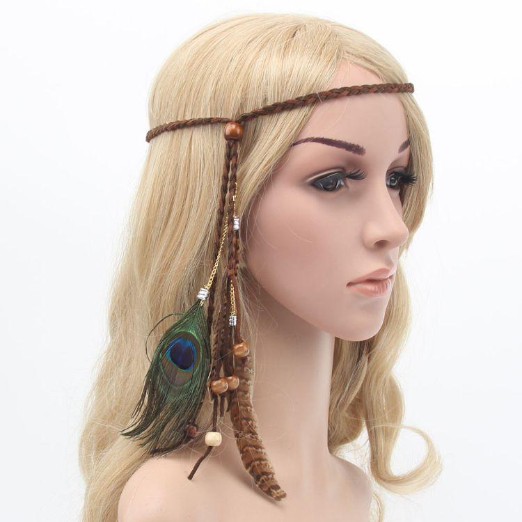 跨境供应波西米亚孔雀羽毛发绳新款羽毛头饰优质羽毛发带厂家批发