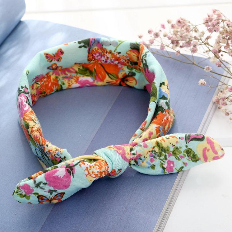 新款印花布藝松緊嬰兒頭飾蝴蝶結寶寶發帶 寬邊時尚可愛兒童頭帶