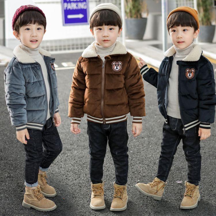 男童棉服2018冬季新品韩版儿童中小童加绒小熊棉衣宝宝上衣潮