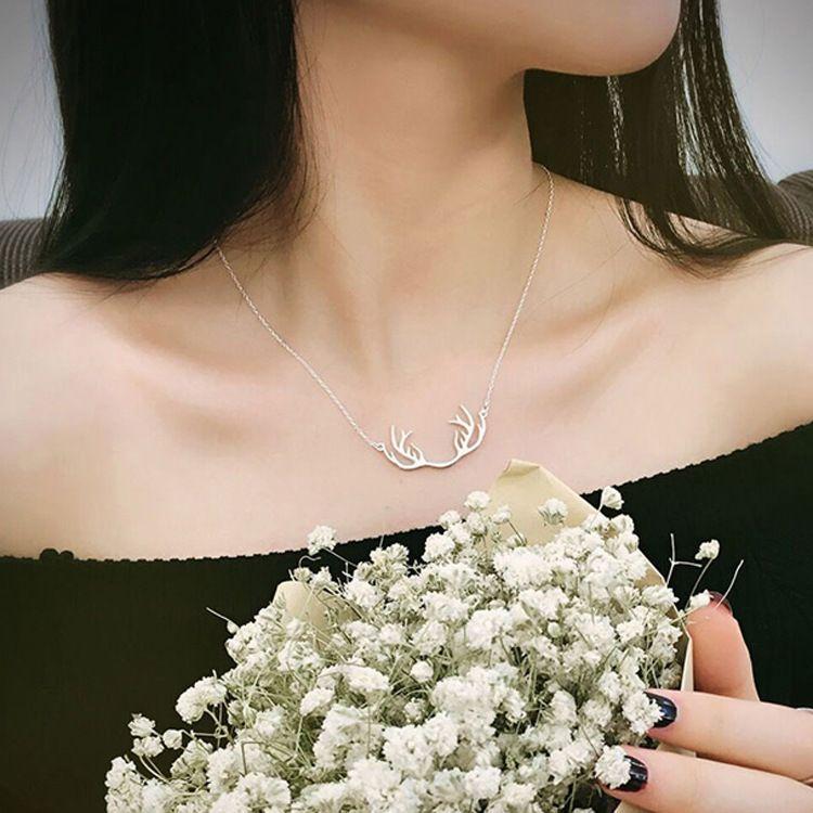 s925银小清新银色雕刻小鹿吊坠锁骨链项链送闺蜜女友生日聚会礼物