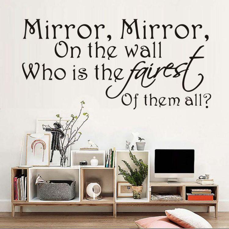 Mirror on the wall墙贴黑色精雕客厅卧室浴室背景贴纸 JD4204