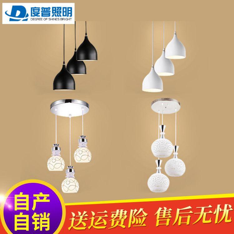创意led餐厅吊灯三头现代简约圆形餐厅灯北欧餐桌饭厅灯吧台灯具