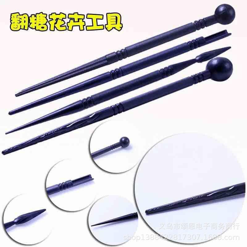 4pcs黑色造型工具 翻糖制作雕刻塑性工具模具 软陶黏土适用OPP装