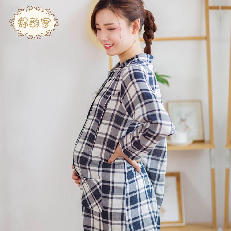 KS7132新款孕妇睡衣孕妇月子服哺乳服格子喂奶衣休闲孕妇装