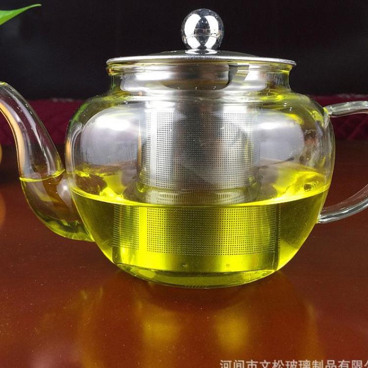 实拍 加厚耐高温玻璃花茶壶 耐热钢漏玻璃壶 苹果壶 圆润钢漏壶