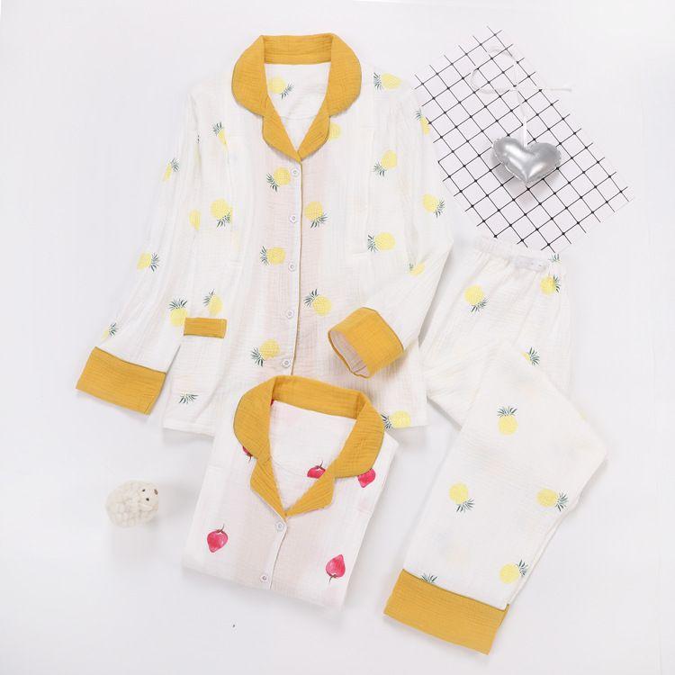 厂家批发春夏季水洗纱布月子服纯棉绉布薄哺乳睡衣孕妇喂奶家居服