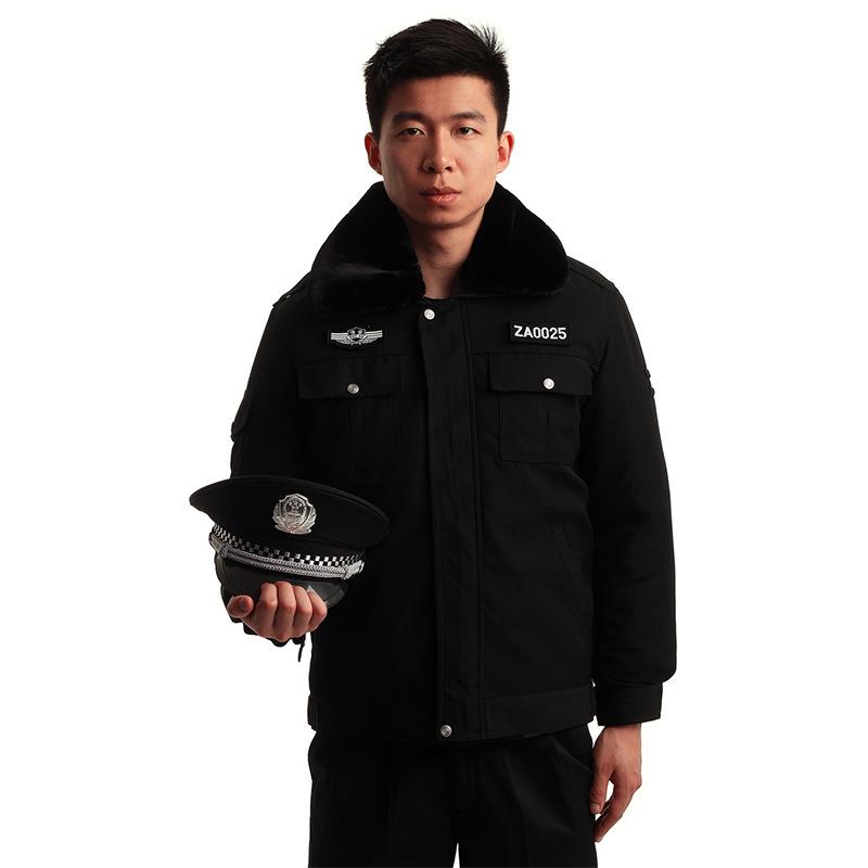 保安秋冬季装加服厚棉服执勤物业制服防寒毛领外套保安服 套装