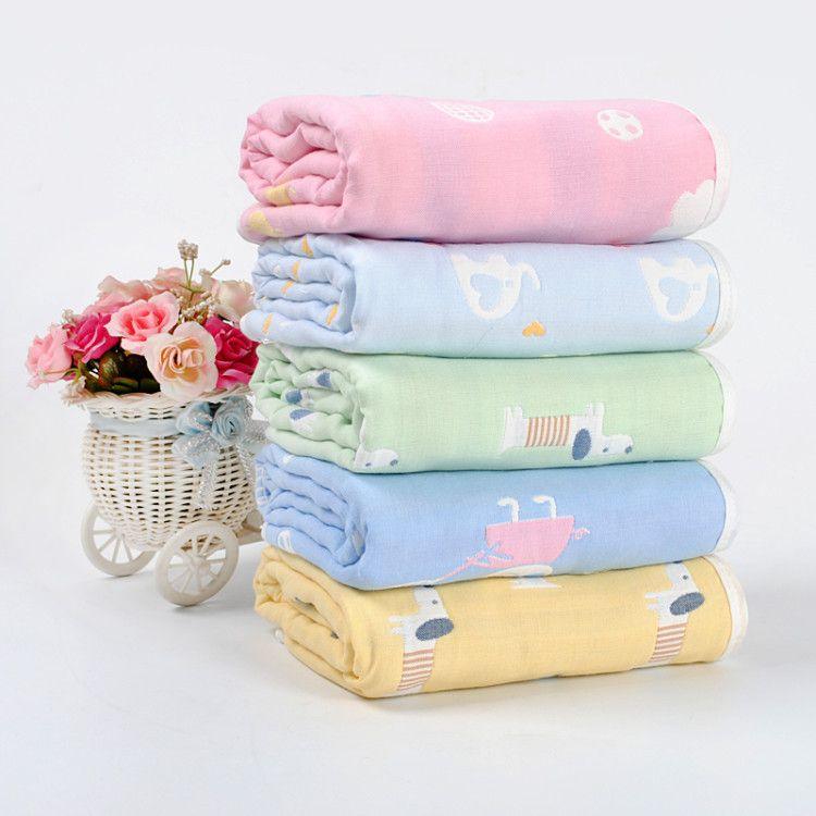 六层棉纱婴儿浴巾厂家批发卡通吸水儿童宝宝盖毯无荧光剂纱布抱被