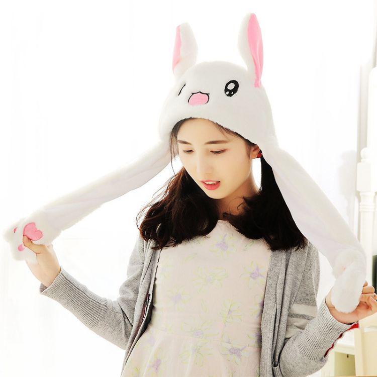 网红抖音同款兔耳朵帽子一捏耳朵会动的兔子帽子可爱加绒保暖帽子