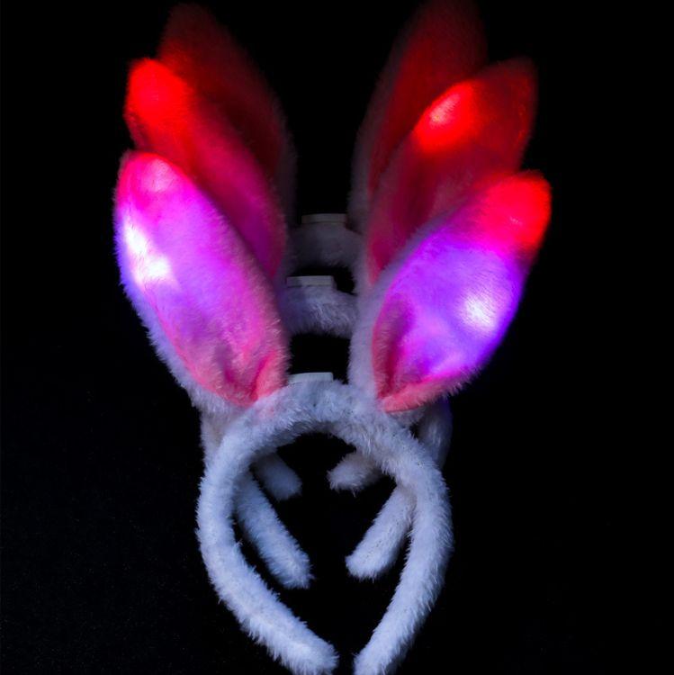 摆地摊演唱会闪光兔耳朵 儿童发光发箍头饰 兔女郎发光毛绒兔耳朵