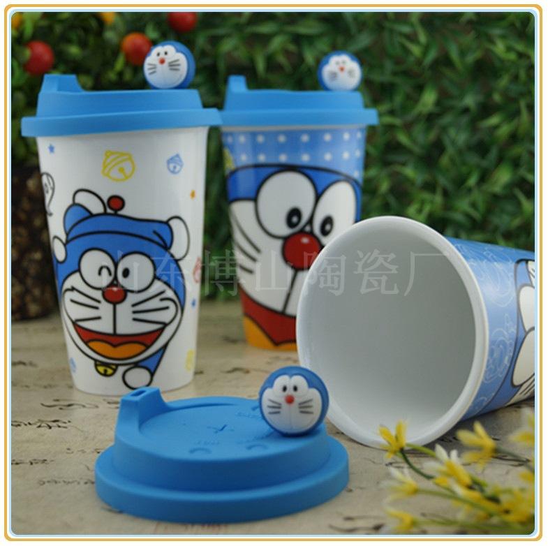 硅胶隔热陶瓷杯定制logo 促销礼品马克杯 带卡通硅胶盖 广告杯子
