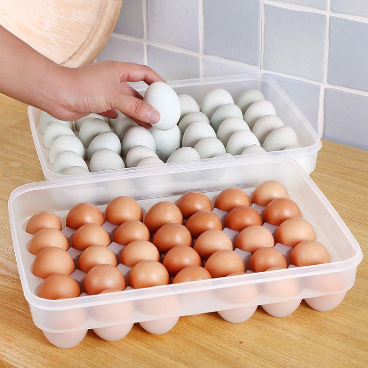 34格大容量鸡蛋格 厨房透明塑料鸡蛋盒 冰箱放鸭蛋托收纳保鲜盒