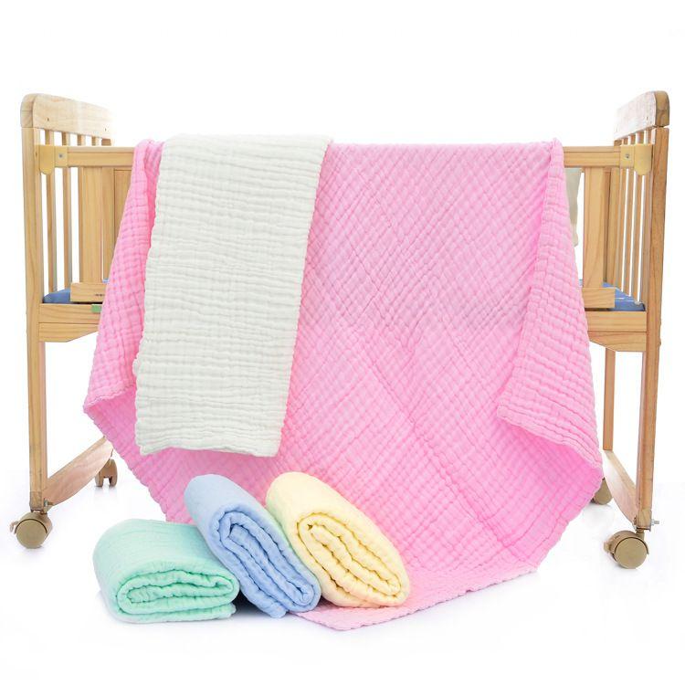 婴儿浴巾童被六层纱布纯棉泡泡纱宝宝盖毯儿童褶皱毛巾被童婴批发
