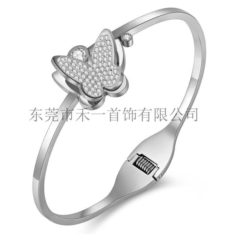 厂家直销2018新款时尚钛钢手链 粘钻女式蝴蝶玫瑰金不锈钢手环