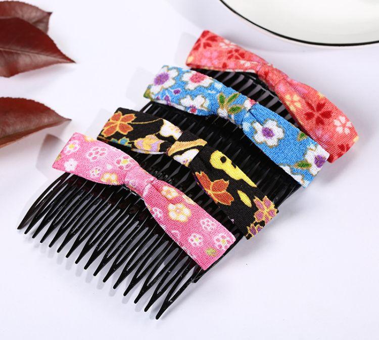 可定制日本和风系列 新款时尚碎花绉布蝴蝶结发梳民族甜美批发