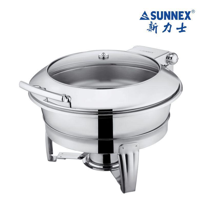SUNNEX新力士圆形透明可视自助餐炉嵌入式保温布菲炉X36381 39381