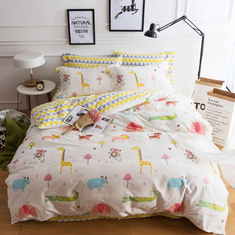 纯棉布料宝宝斜纹面料儿童床品被套卡通印花棉布婴儿床单AB版布料
