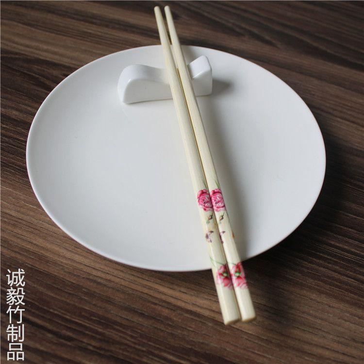 爆款日用百货 7.0无节炒漆印花本色竹筷 健康环保厨房家庭筷子