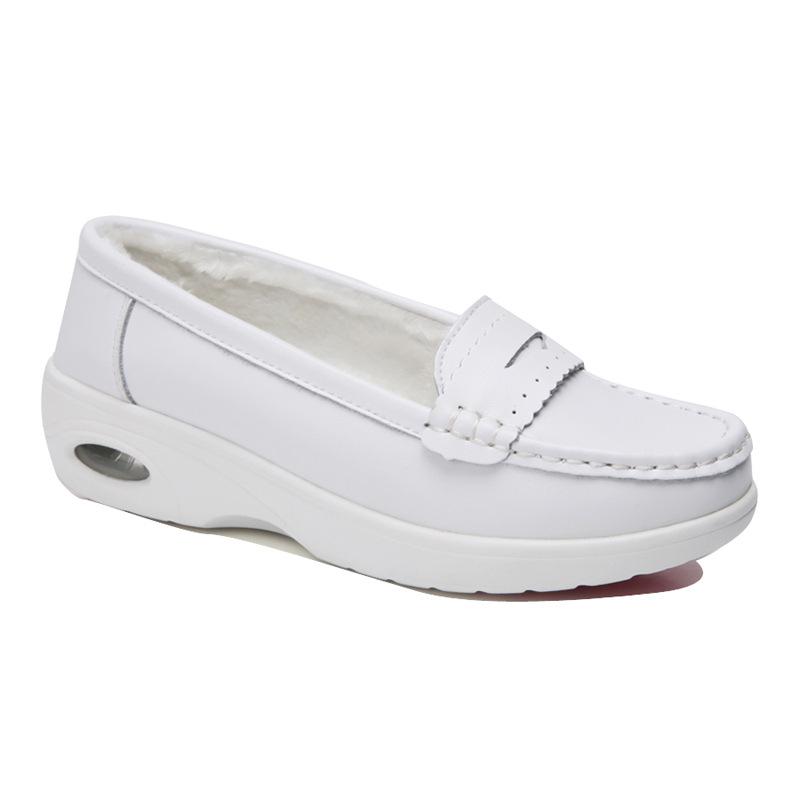 白鞋无鞋带舒适女装工鞋大码医院坡跟气垫妈妈孕妇白色护士鞋中跟