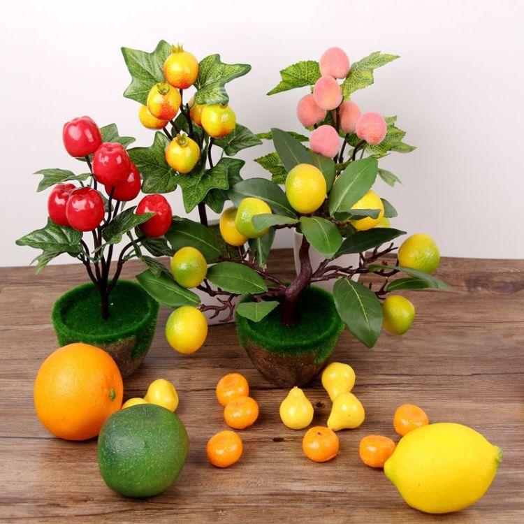 仿真绿植塑料花水果假果树小盆景盆栽苹果橘子桃子石榴家居摆放