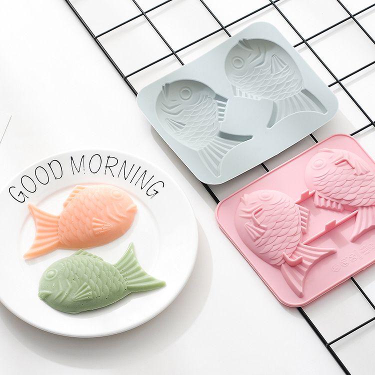 一心原创 日式鲷鱼烧硅胶模具烘焙工具模具双鱼卡通蛋糕模具烤盘