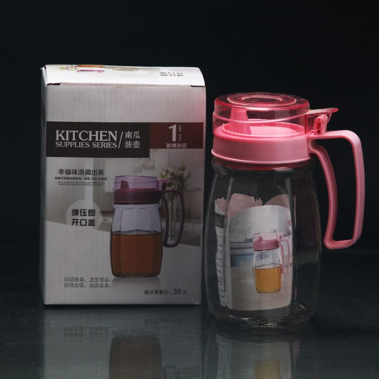 厂家直销玻璃油壶 南瓜按压式油壶单只装厨房用品促销礼品