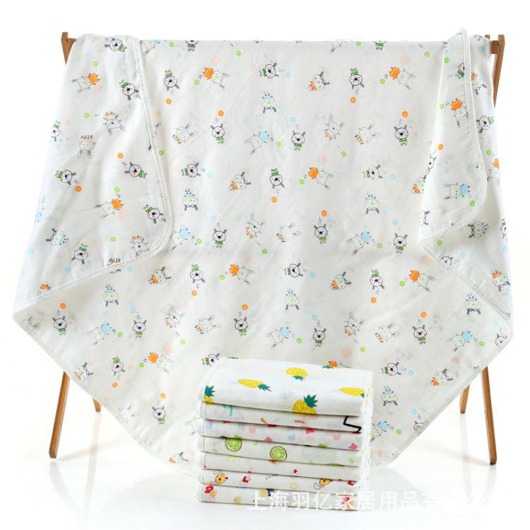 4层纱布婴儿裹巾muslin纯棉纱布儿童浴巾新生儿童被盖毯厂家批发
