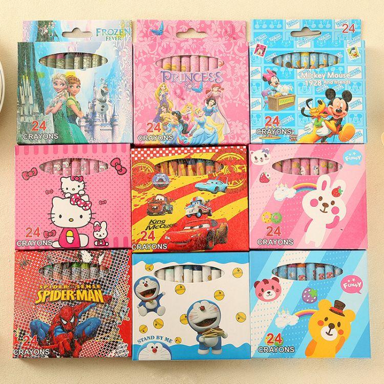 特价 卡通创意绘画文具24蜡笔儿童涂鸦画笔 油画棒 学生学习用品