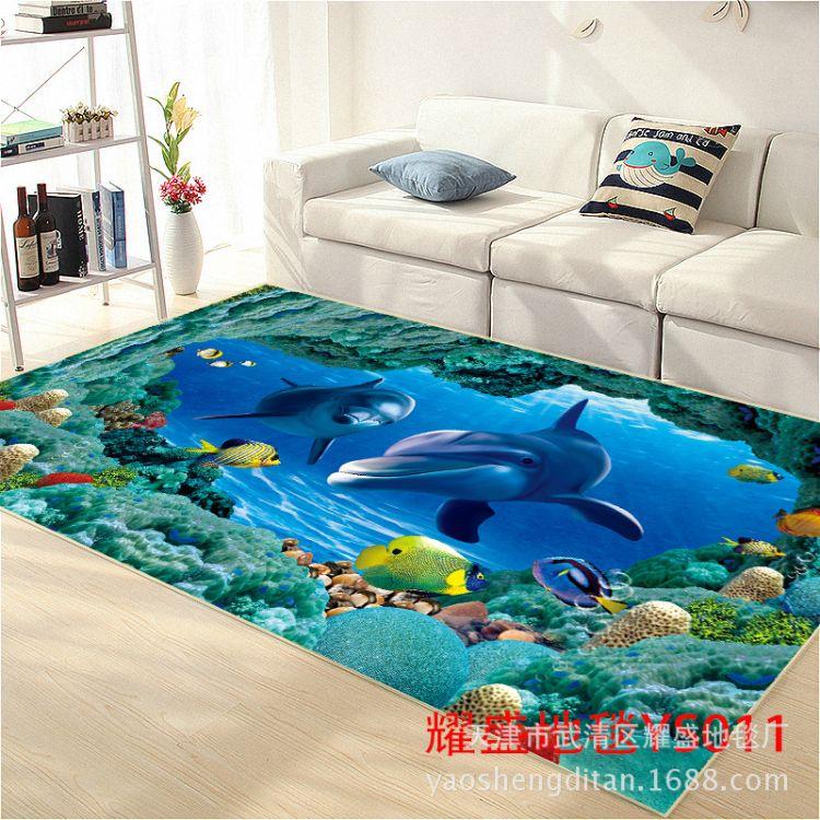立体3D印花卡通地毯地垫门垫床前毯坐垫客厅地毯浴室地毯