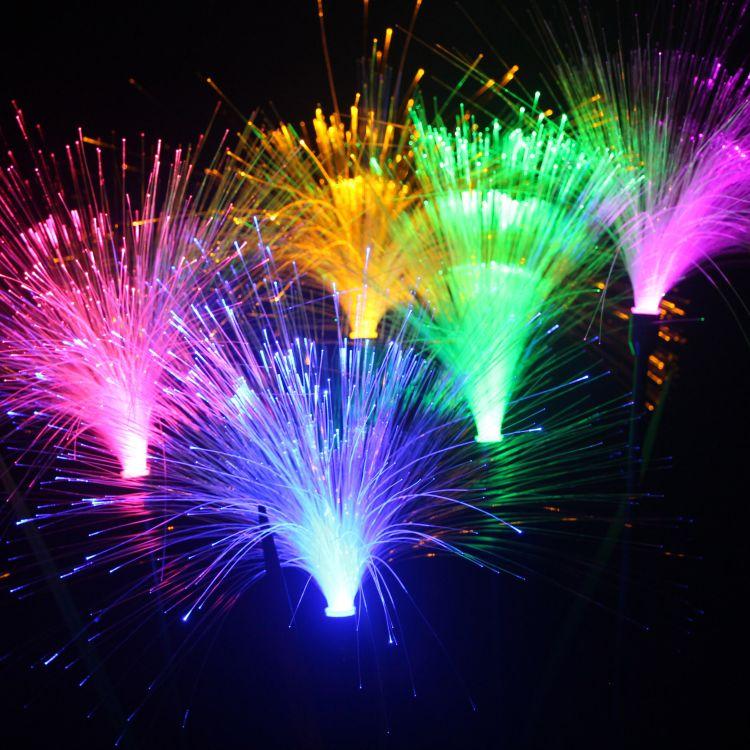 现货批发七彩LED光纤芦苇灯发光灯杆芦苇插地花灯RGB遥控控制