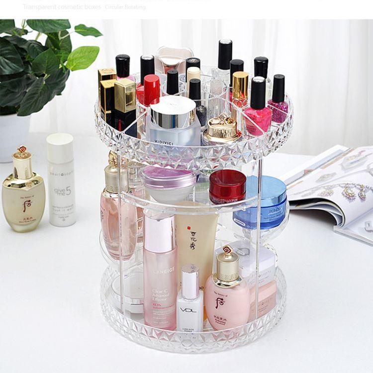 旋转化妆品收纳盒亚克力梳妆台口红护肤品置物架整理美妆整理透明